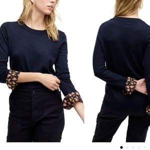 JCrew Navy and Pink Leopard Sweater